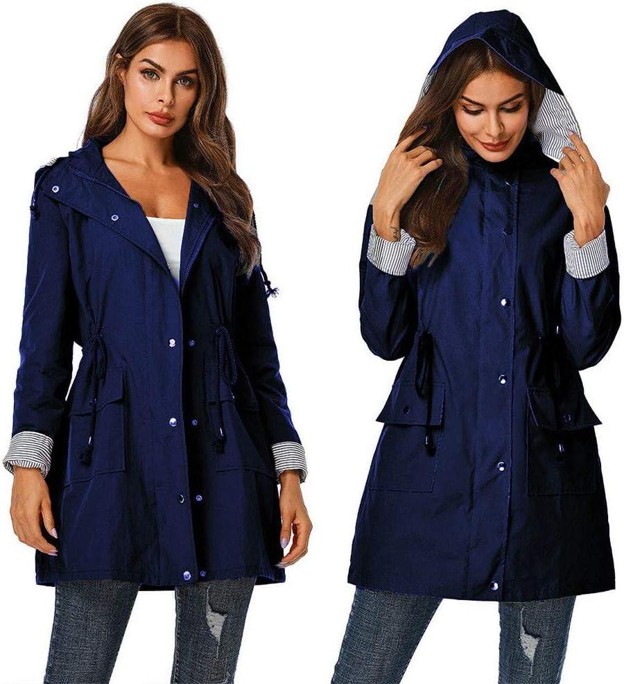 Ladies Jacket New Ladies Waterproof Clothing Mountaineering Suit Waterproof Windproof Raincoat Urban Casual Solid Color Hooded Stitching Slim Long Windbreaker with Zipper Jacket