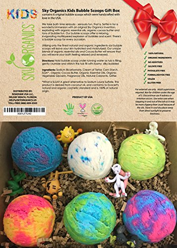 Kids Bubble Bath Scoops Gift Set by Sky Organics with Surprise Toys, 6 Fun Assorted Bubble Scoops, Kid Safe, Gender Neutral with Organics Oils & Cocoa Butter for Silky Bubbles- Handmade in USA (Fart 100 Bombs)