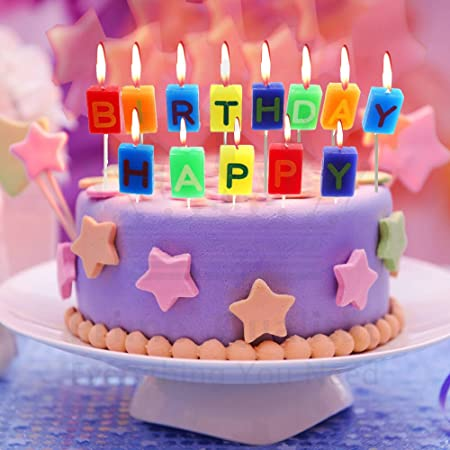 Happy Birthday Red Blue Orange Yellow Green With Black Letters Cake Candles Set