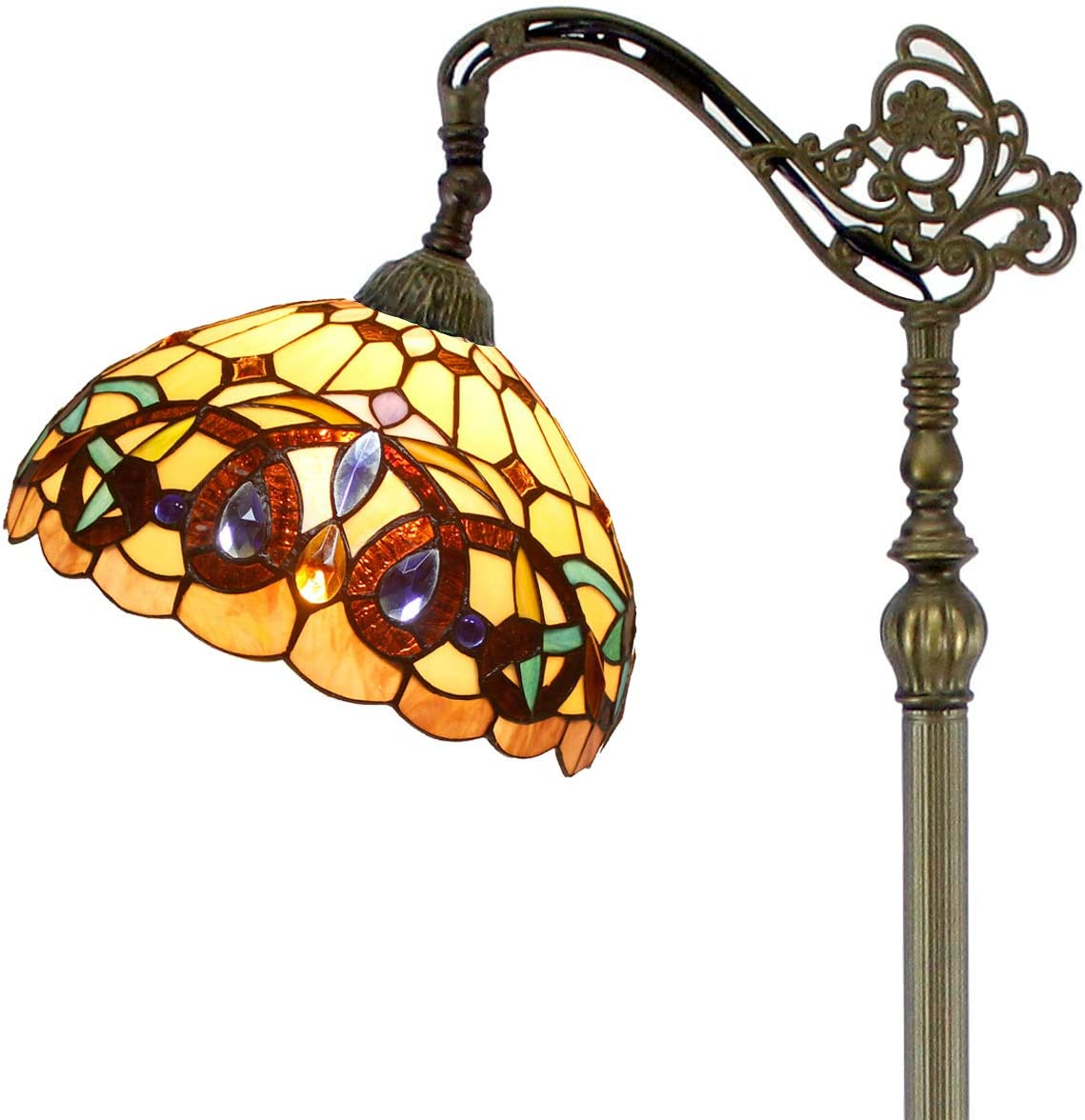 Tiffany Style Reading Floor Lamp Stained Glass Serenity Victorian Lampshade in 64 Inch Tall Antique Arched Base for Girlfriend Bedroom Living Room Lighting Table S021 WERFACTORY