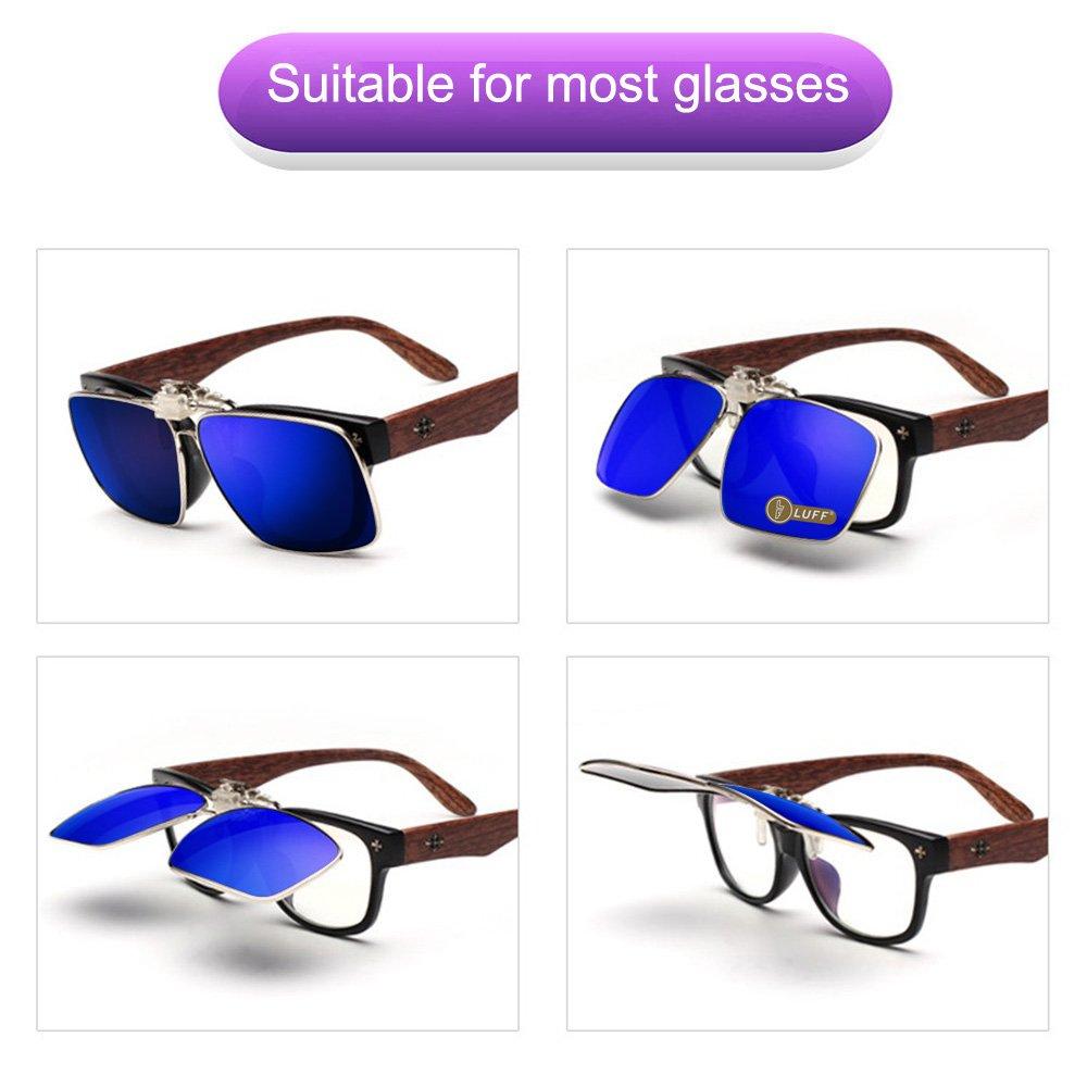 Clip en las gafas de sol polarizadas Mens / womens Flip up polarizado lentes de sol caber sobre gafas graduadas / lectores / deportes al aire libre (Azul): ...