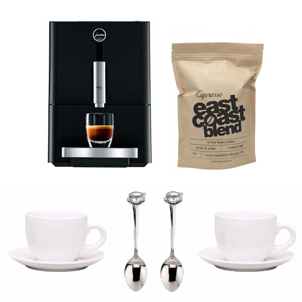 Jura ENA Micro 1 Fully Automatic Coffee Maker + Free Coffee Beans, Tiara Cups and Demi Spoons