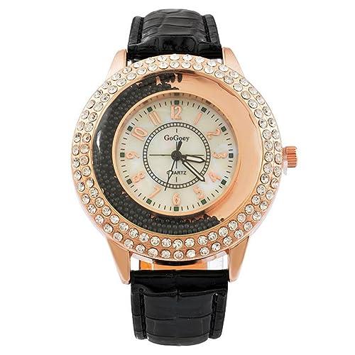 MJartoria Damen Armbanduhr Quarz Uhr Modeschmuck PU Lederarmband Mode Design mit Strass Schwarz