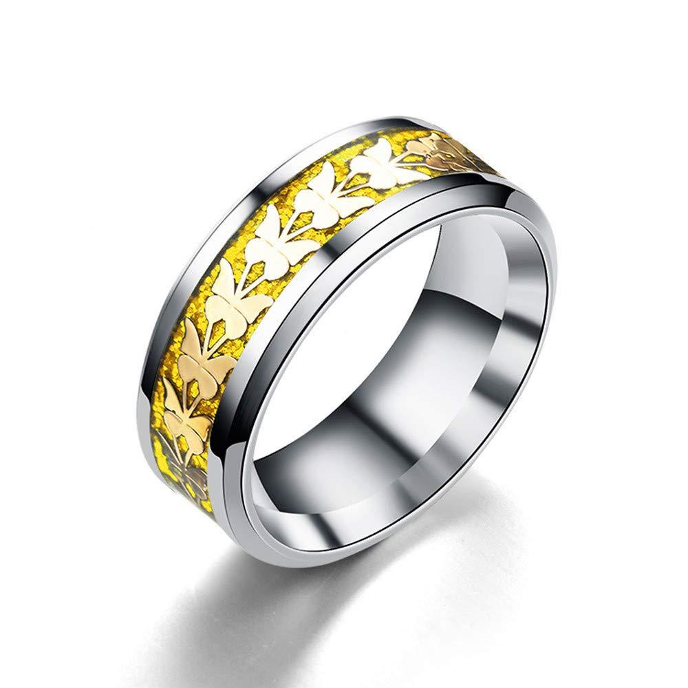 Uscharm Women Rings Bohemian Vintage Silver Rings Boho Butterfly Rings Finger Rings Golden (GD11)
