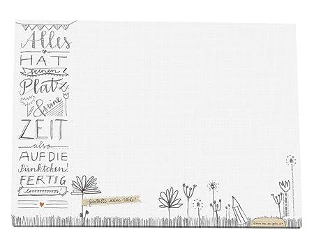 Eine der Guten | A3 Schreibtischunterlage aus Papier zum Abreißen | weiß mit Punkteraster & Blumen Design | 30 x 42 cm | 25 B