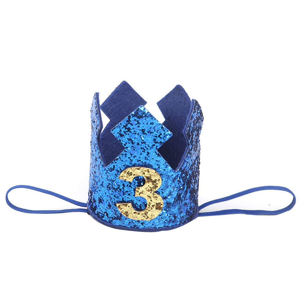 NUWFOR 1PC Boy Head Accessories Hairband Baby Elastic Brithday Number Crown Headwear(Blue,3)
