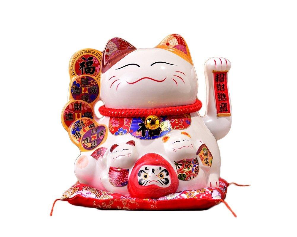 Maneki Neko Fortuna Gatto Che Saluta Lucky Cat Waving Moving Arm,Bianca, small Mkuha