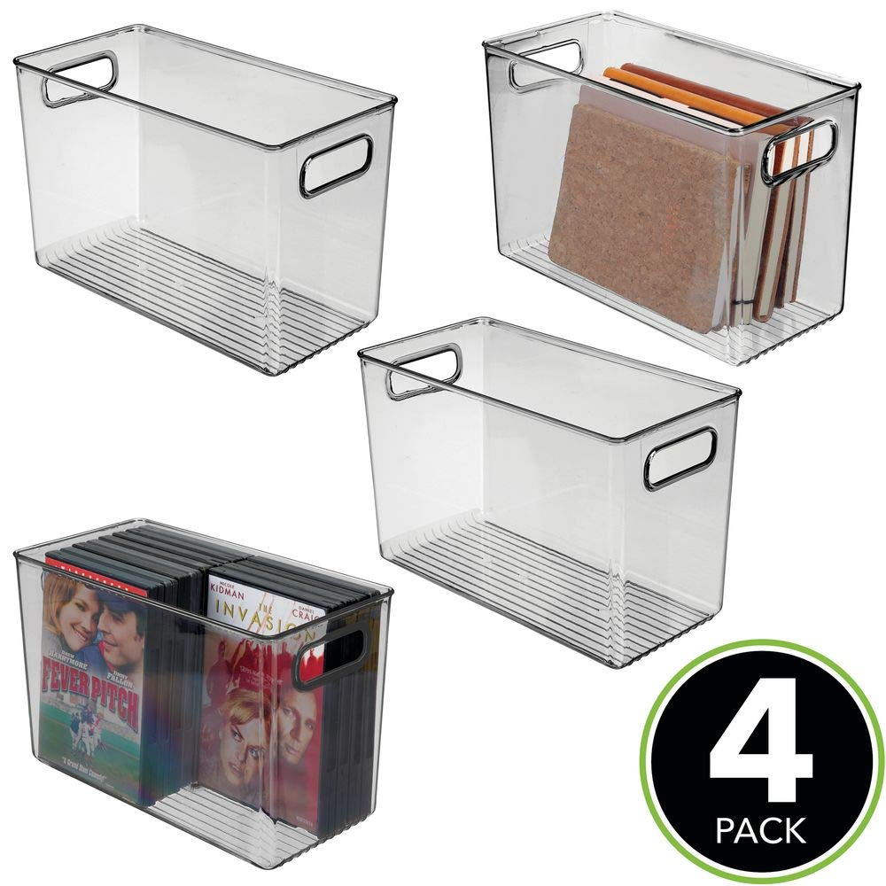 Bedroom Laundry Room Nursery Closet Clear Kids Toy Room 12 x 6 x 7.75-4 Pack Cabinet mDesign Deep Plastic Home Storage Organizer Bin for Cube Furniture Shelving in Office 12 x 6 x 7.75-4 Pack Entryway Clear MetroDecor Kids Toy Room