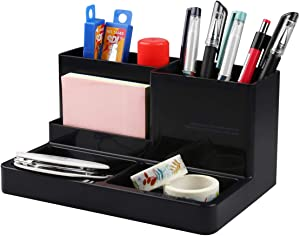 "Citmage Desk Organizer Caddy with 5 Compartments Office Workspace Desktop Holder Stable Plastic Stationery Storage Box for Pencils,Markers,Erasers,Pens,Thumbtack (7.1"" x4.8"" x3.6"")(Black)"
