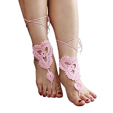 Plage Chianrliu Fußkettchen Barfuß Sandalen Zeh Fuß Häkeln Ring