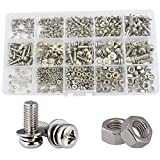 Sems Pan Round Head Screw nut and Washer Metric Phillips 304stainless Steel Combined Cross Machine Screw 400pcs,M2 M2.5 M3 M4 M5 Assortment Kit Set