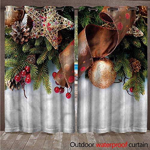 cobeDecor Christmas Outdoor Balcony Privacy Curtain Pine Cones Garland W96 x L108(245cm x ()