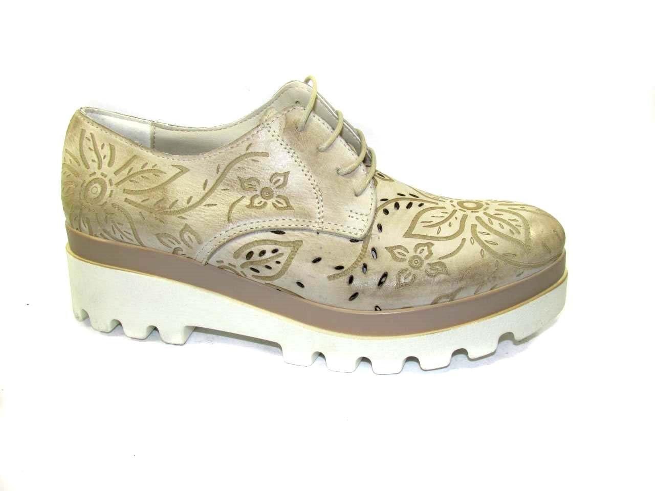 OSVALDO PERICOLI - Zapatos de cordones de Piel para mujer 37 EU|Beige