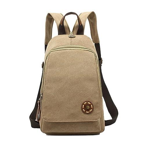 Anne - Bolso mochila de Lona para mujer marrón caqui: Amazon.es: Zapatos y complementos
