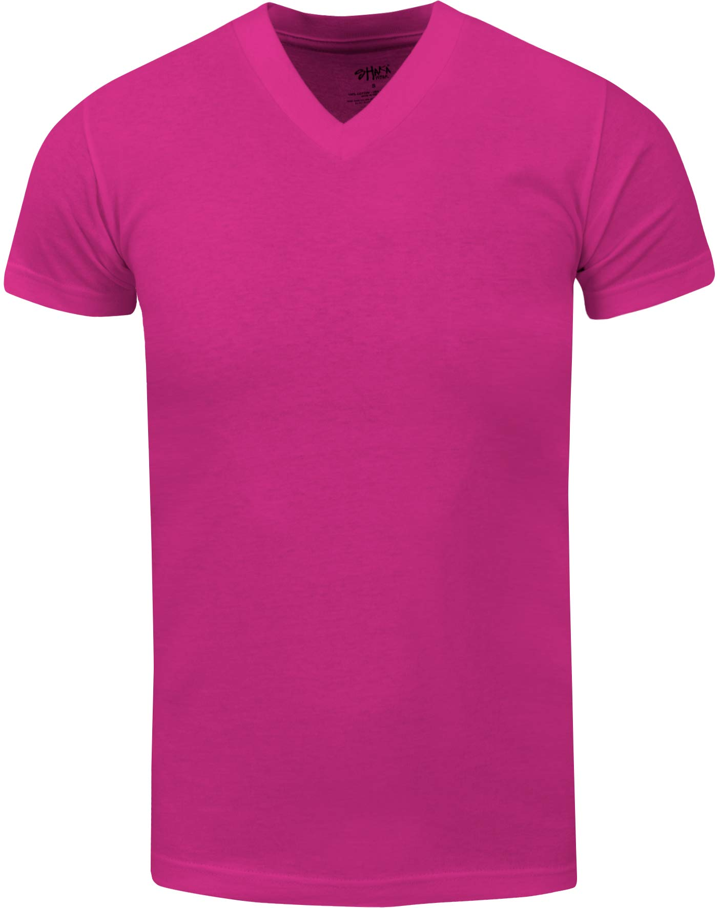 VNS24_ Active Mens Premium Cotton Heavy Weight V Neck Basic T Shirt Hot Pink by Shaka Wear (Image #1)