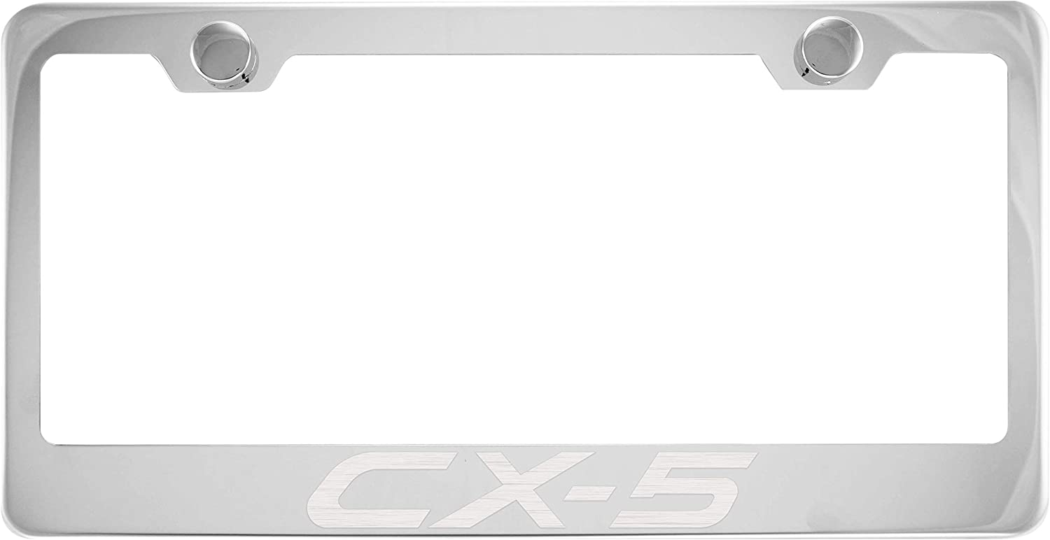 Stainless Steel Fit Mazda CX-5 Chrome License Plate Frame with Cap