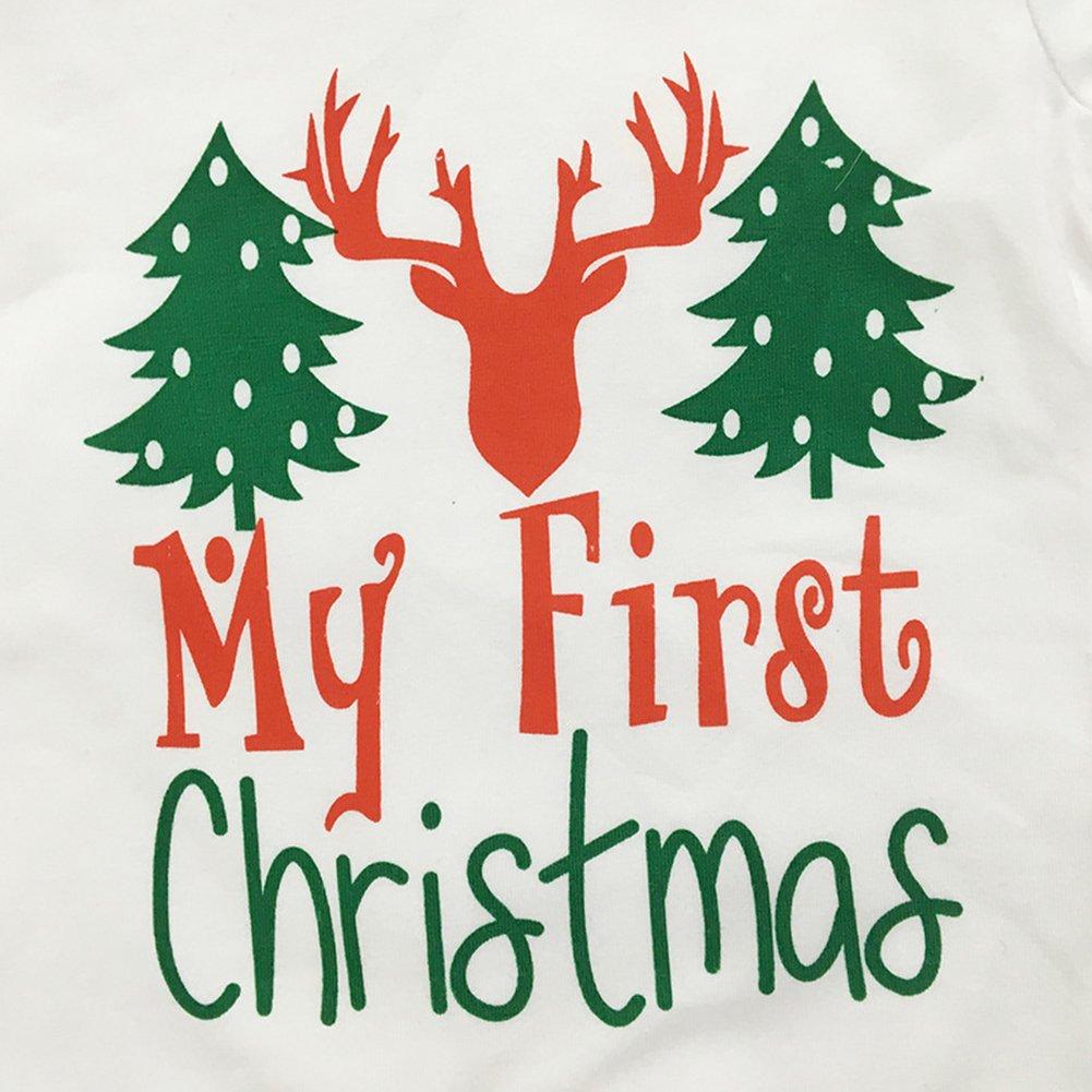 Angel3292 Newborn Baby Christmas Tree Deer Romper Pants Hat Three-Piece Outfits