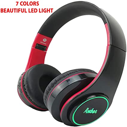 3147eae0cf1 Bluetooth Headphones Over Ear Hi-Fi Stereo with Mic – FM Radio/TF  Card/Aux-in/Multi Color LED Light, Wireless Noise Cancelling Headset, High  Bass, ...