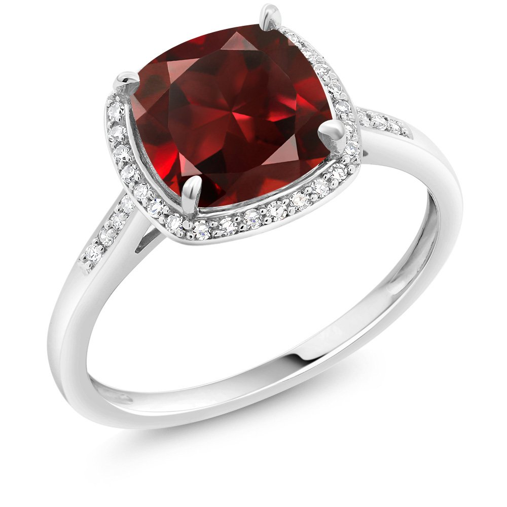 2.74 Ct Cushion Red Garnet 10K White Gold Ring with Accent Diamonds (Ring Size 8)