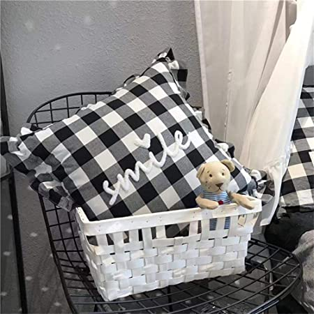 Soffta Black and White Buffalo Plaid Checkers Throw Pillow Covers 18 x 18 Inch Pack of 2 Decorative Throw Pillows Covers Gingham Plaids Check