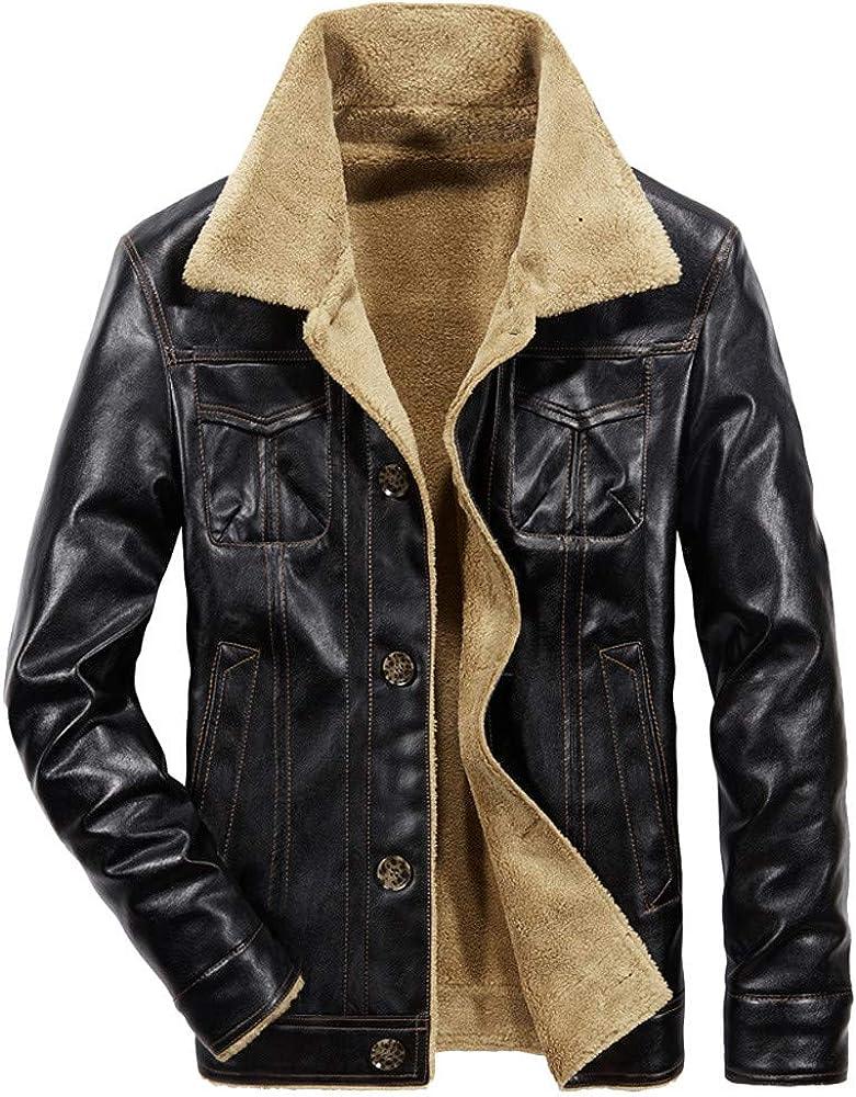 MEIbax Hombre Chaquetas de otoño Invierno de la Moda Casual Superior del Bolsillo del botón Gruesa Capa de la Chaqueta de Cuero Termal Cazadora Cuero Borreguillo Parka Abrigos Jacket Tops
