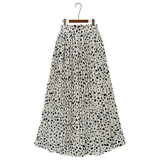 Falda larga de las mujeres Punto de cintura alta con estampado de ...