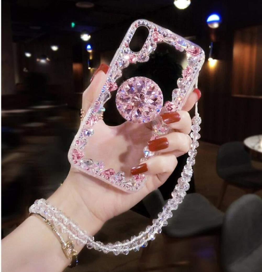 Amocase Diamond Clear Case with 2 in 1 Stylus for Samsung Galaxy S10 Plus,Luxury Girly 3D Handmade Gemstone Soft Rubber Bumper Ring Stand Holder Bling Case with Crystal Neck Lanyard - Pink by Amocase