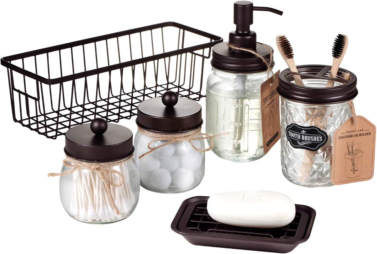 Premium Mason Jar Bathroom Accessories Set (6PCS) - Lotion Soap Dispenser,Toothbrush Holder,2 Apothecary Jars(Qtip Holder), Soap Dish,Storage Organizer Basket - Rustic Farmhouse Decor (Bronze)