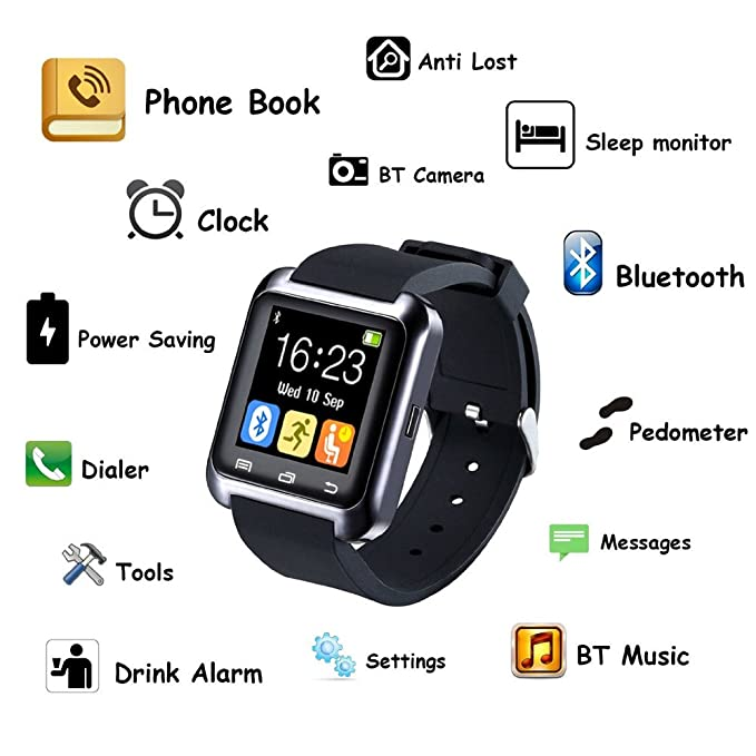 IDOL U80 Bluetooth 4.0 Smartwatch Watch Mobile Phone Sportswatch Pedometer for Smartphones IOS Apple iPhone 4/4S/5/5C/5S/6/6 Puls Android Samsung ...