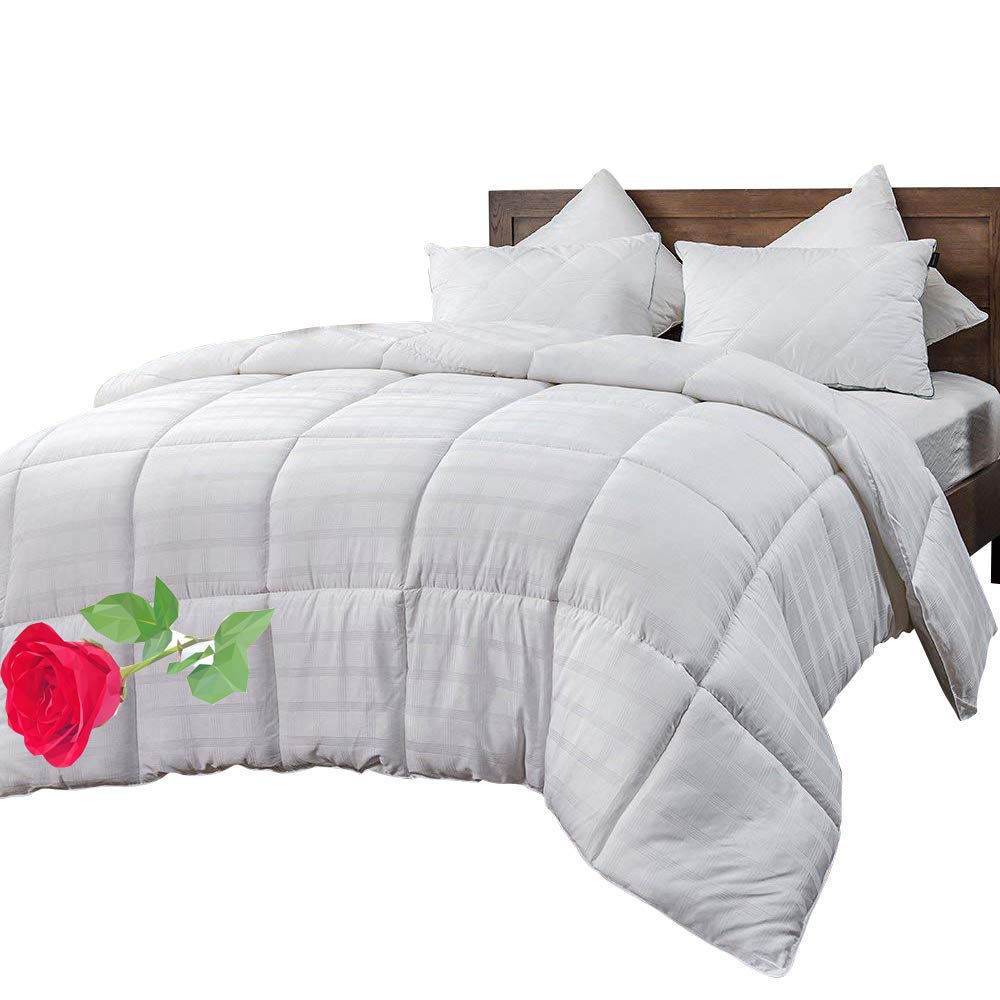 WhatsBedding White Cotton Comforter King Size, Tencel Cotton Content for Cooling, Down Alternative Fill Quilted Duvet Insert, Fluffy, Warm, Soft & Hypoallergenic, Medium Weight for All Season