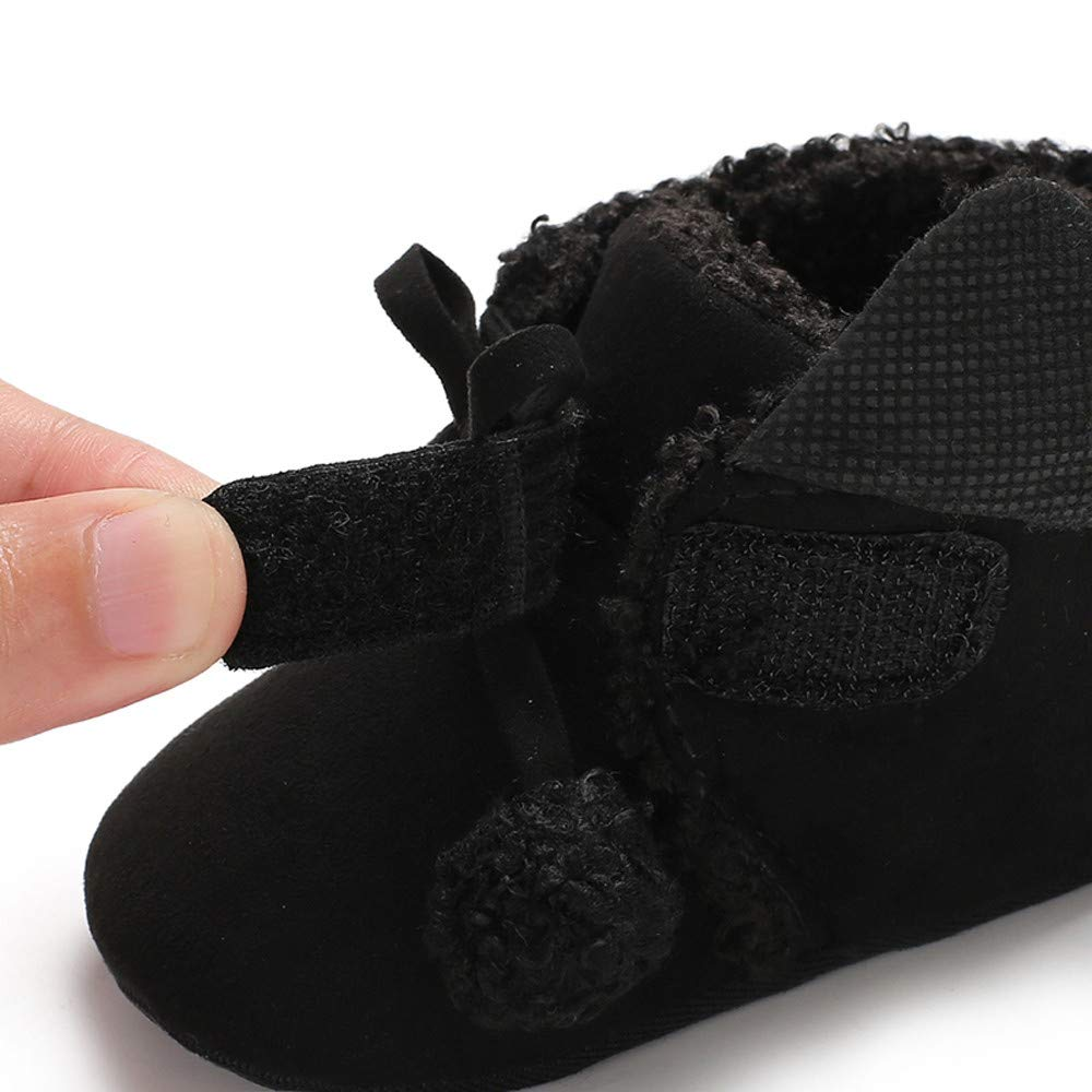 Amazon.com : Winter Toddler Warm Shoes, Baby Girls Boys Lace up Soft Soft Booties Hair Ball Bandage Snow Boots (6-12 Months, Black) : Beauty
