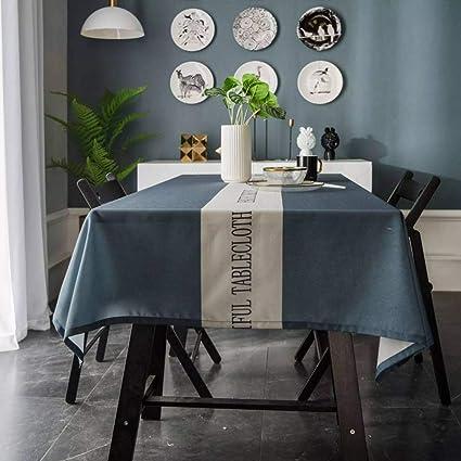 Xudoai Nappe Enduite Rectangulaire Nappe En Lin Polyester Antifouling Cuisine Anti Poussiere Multifonctionnelle Interieure Table A Manger Nappe De Pique Nique Bleu 135 180cm Amazon Fr Cuisine Maison
