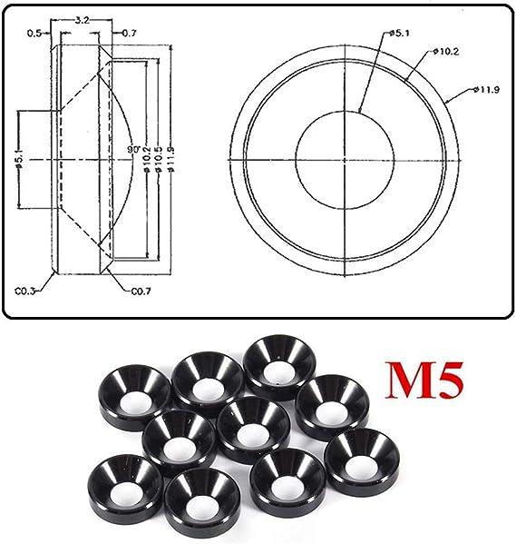 Schwarz 10Pcs M5 Multicolor Kopf Sechskantschraube Dichtung Unterlegscheibe Muttern Aluminiumlegierung anodische Oxidation Oberfl/äche