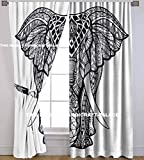 HANDICRAFT-PALACE Elephant Mandala Indian Curtain Hippie Wall Hanging Door Window Large Curtains 2 PC Style Traditional Hippie by Handicraftspalace