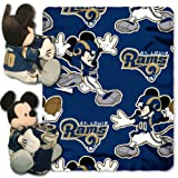 rams football - The Northwest Company Officially Licensed NFL St. Louis Rams Co-Branded Disney's Mickey Hugger and Fleece Throw Blanket Set