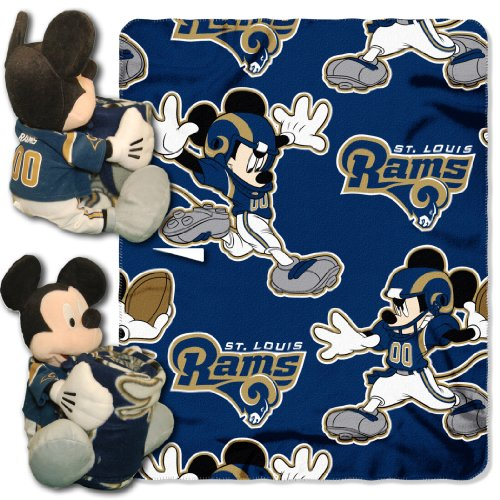 Officially Licensed NFL St. Louis Rams Co-Branded Disney's Mickey Hugger and Fleece Throw Blanket Set (Louis Blanket St)
