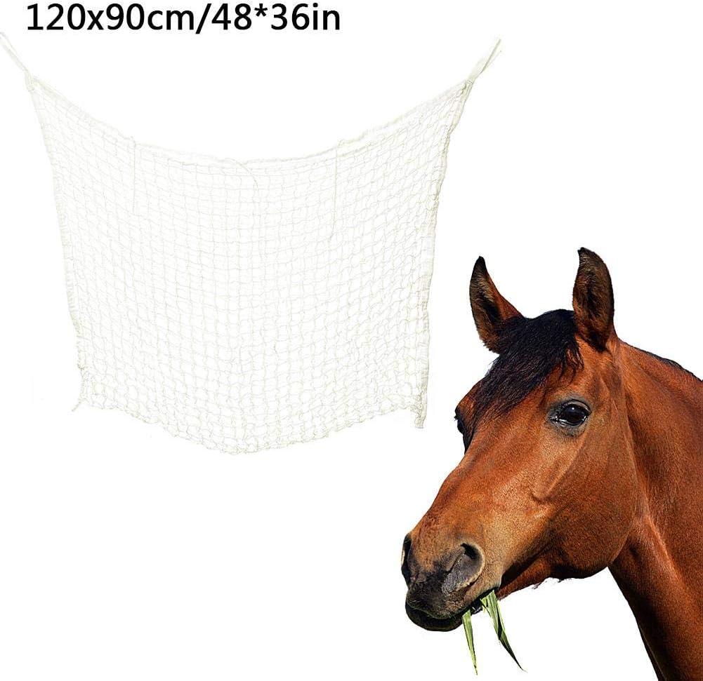 TOMATION Slow Feed Hay Net, Slow Feed Hay Bag para Bolsas de heno, Interiores, Exteriores, Puestos, 32 36in / 48 36in, Blanco Pleasure