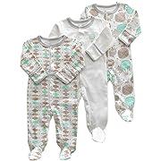 Aablexema Baby Boys' Blanket Sleepers - 3 Packs Baby Footie Onesies Sleeper Newborn Cotton Sleepwear Infant Outfit 0-3 Months