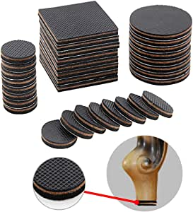 Non Slip Furniture Pads for Furniture Legs, 32 Pack Round Rubber Furniture Grippers Large Felt Bed Frame Floor Protector Square Sofa Feet Carpet for Recliner, Bed, Couch, Sofa, Chair