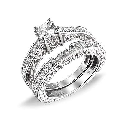 Bling Jewelry 0.75Ct (5mm) CZ Plata Esterlina Juego de ...