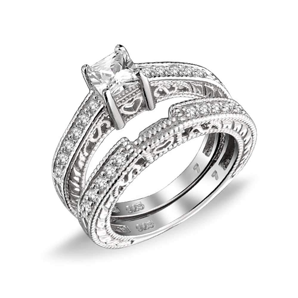 0.75ct Sterling Silver CZ Wedding Engagement Ring Set
