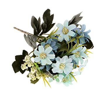 Magideal Artificial 6 Fork Daisy Flower Bouquet Wedding Party Home Garden Decor Blue