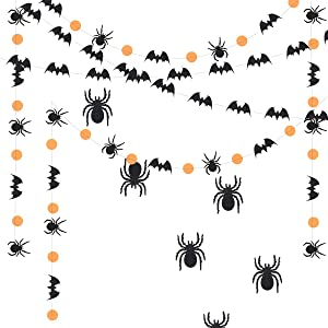 3 Pack Halloween Hanging Paper Decorations, Halloween Paper Garlands Set, Spider Bat Garlands Glitter Spider Stickers Combo for Halloween Party Decorations, Halloween Home Mantel Fireplace Decor