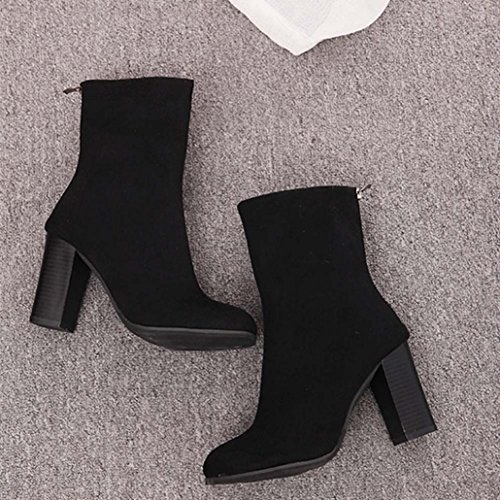 Women 41 Heels Faux Women High New Martin Warm Boots NEARTIME Ladies Ankle Boots Buckle Shoes Fashion Boots Black wT0IxqO