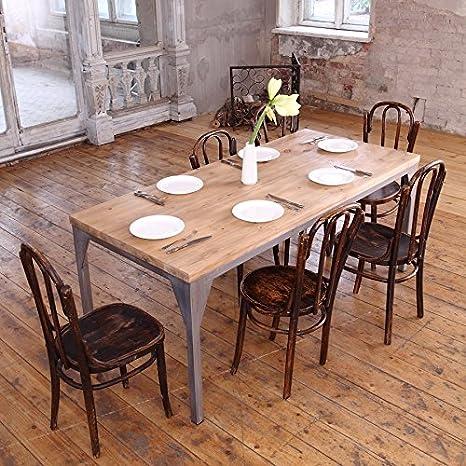 Mesa de comedor industrial, diseño contemporáneo, Daniel (Dark Brown ...