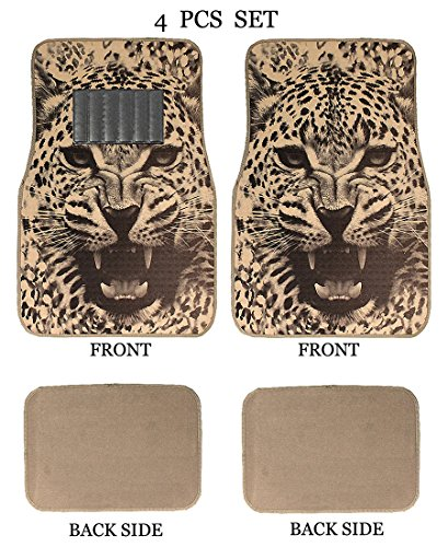Universal Fit Front/Rear 4-Piece Full Set Sublimation Animal Print Custom Design Carpet Car SUV Truck Floor Mats (White Tiger/Beige) ()