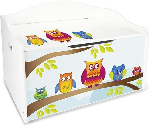 Baúl Para Juguetes XL Caja de Madera Almacenamiento Baúl Infantil Cuarto de Niños Equipamiento de Sala Jardín de Infantes Guardería Para Juguetes y Accesorios Búhos: Amazon.es: Hogar