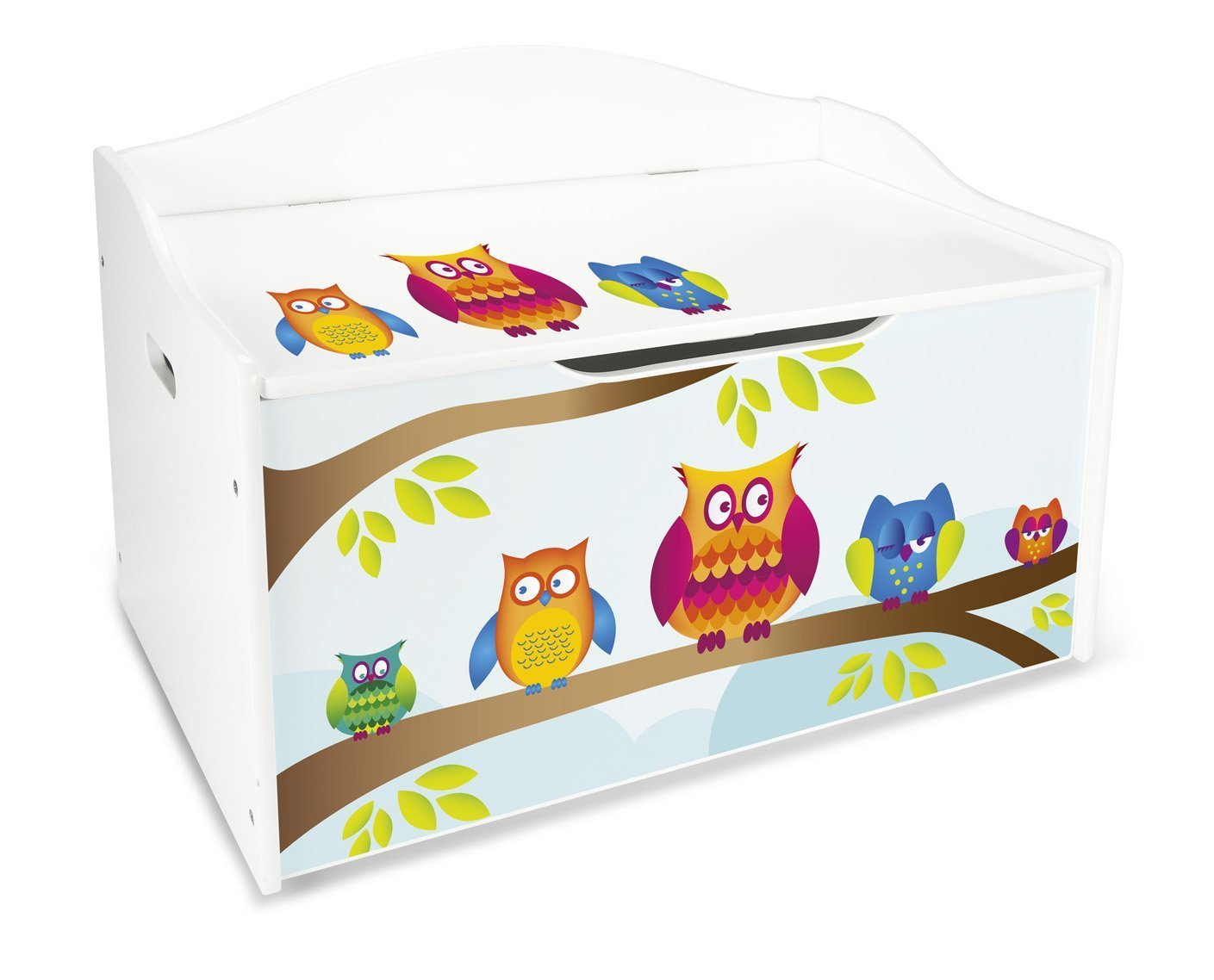 Children's Storage Bench XL Child Chest Bench Motif: Owls Toy Storage Box Seat with Storage Space for Toys Leomark