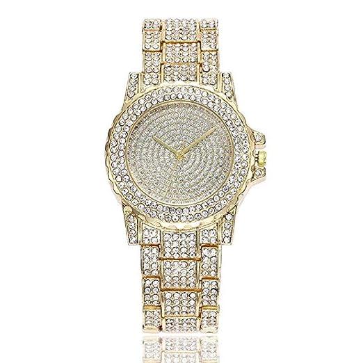 Reloj para Mujer, Scpink Reloj de Acero Inoxidable Clásico con Bling Diamantes Llenos de Lujo