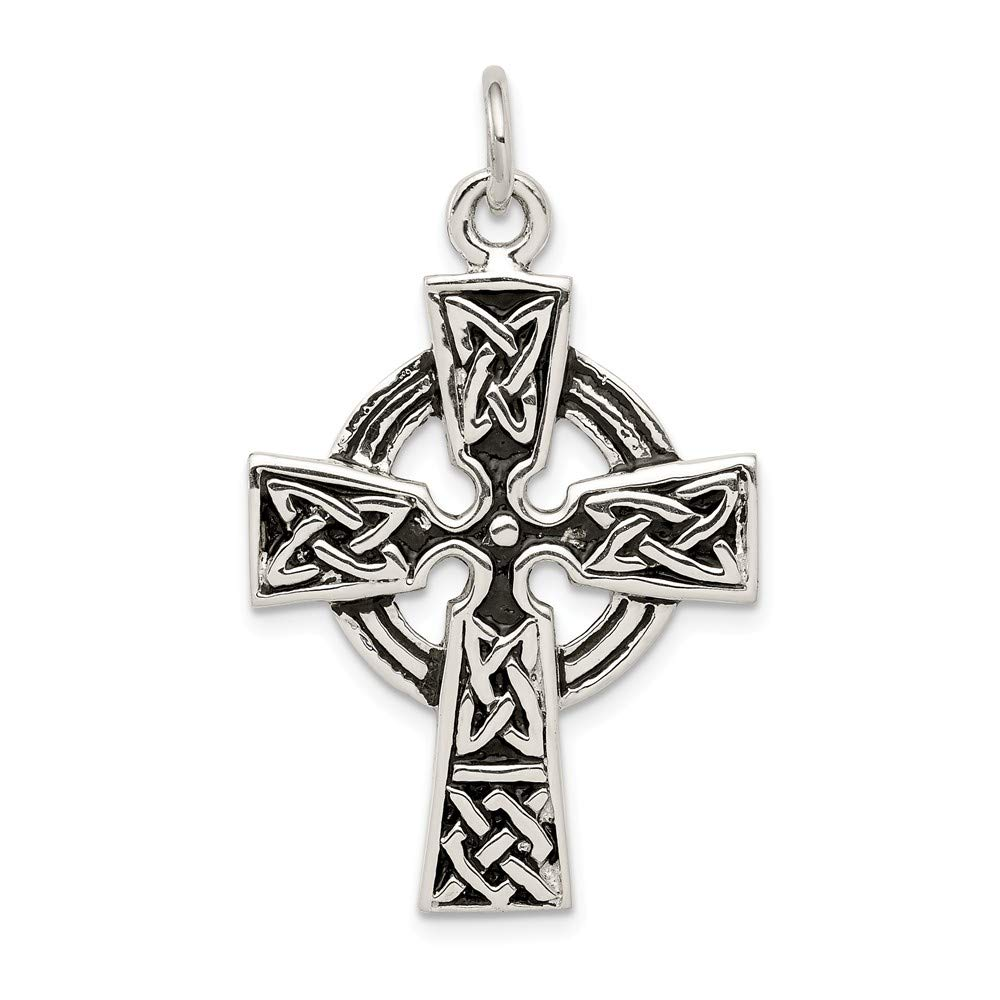 925 Sterling Silver Antiqued Religious Cross Charm